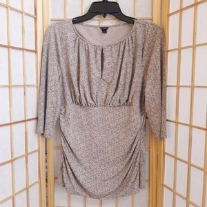 Ann Taylor Gray Keyhole Front Ruched Sides Blouse